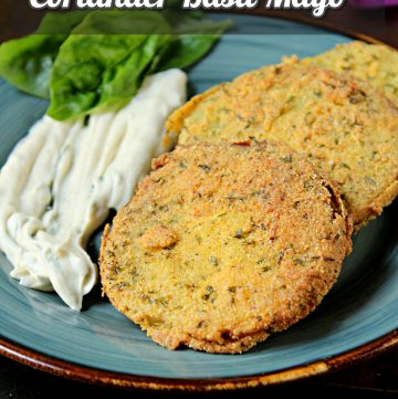 Fried Green Tomatoes with Coriander Basil Mayo