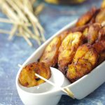 Fried Plantain in a platter with toothpics