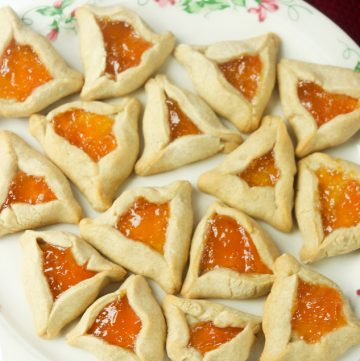 plate of Apricot Hamentachen Cookies