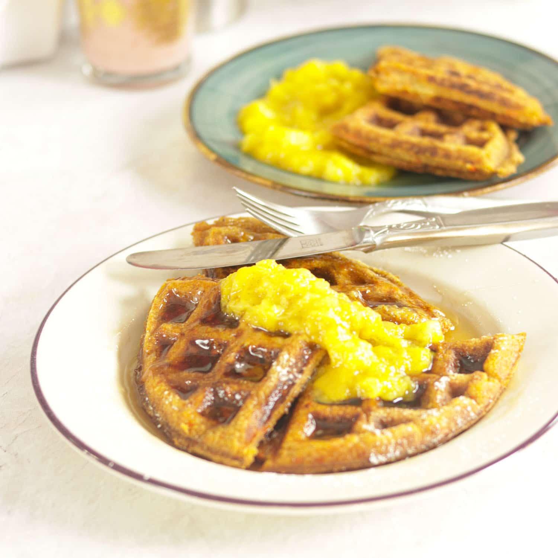 Healthy Carrot Cake Waffles