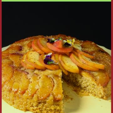 Peach Upside Down Polenta Cake