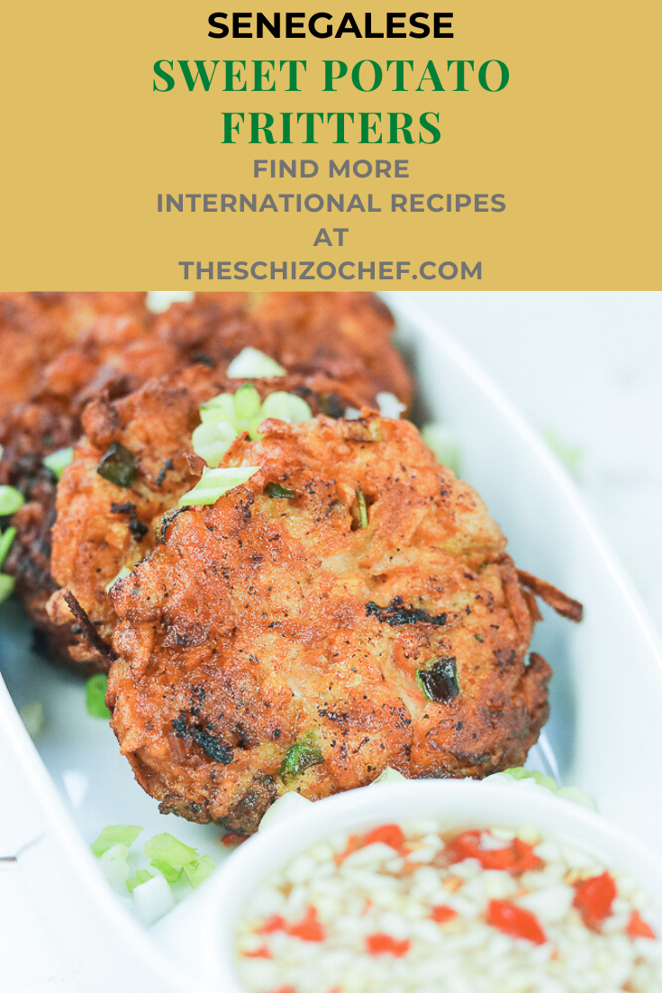 Senegalese Sweet Potato Shrimp Fritters with text