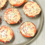 plate of Watermelon Cupcakes with Fresh Watermelon Glaze