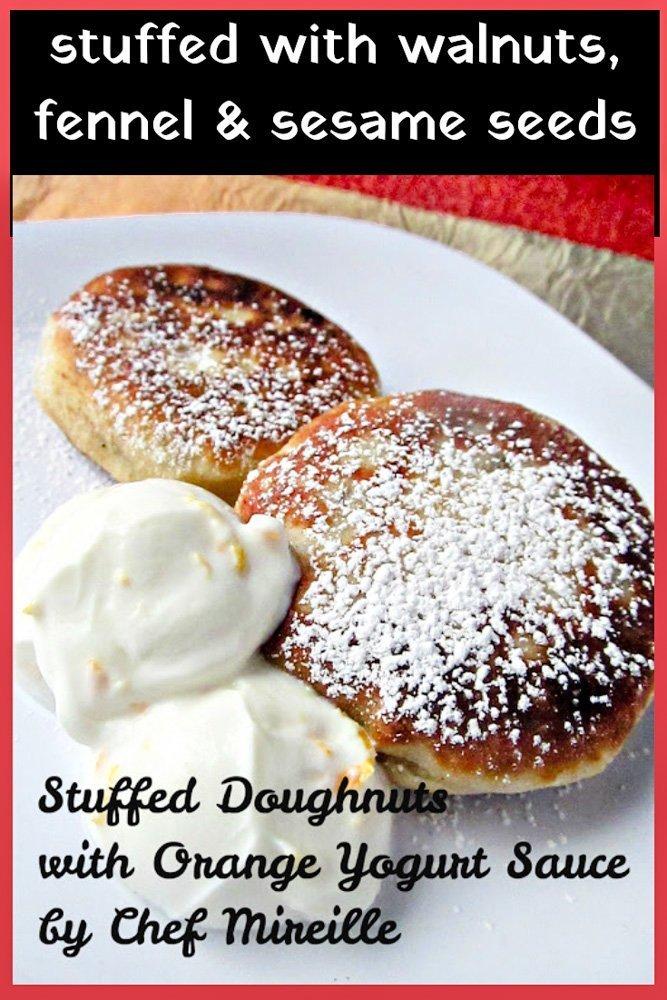 Stuffed Doughnuts with Orange Yogurt Sauce