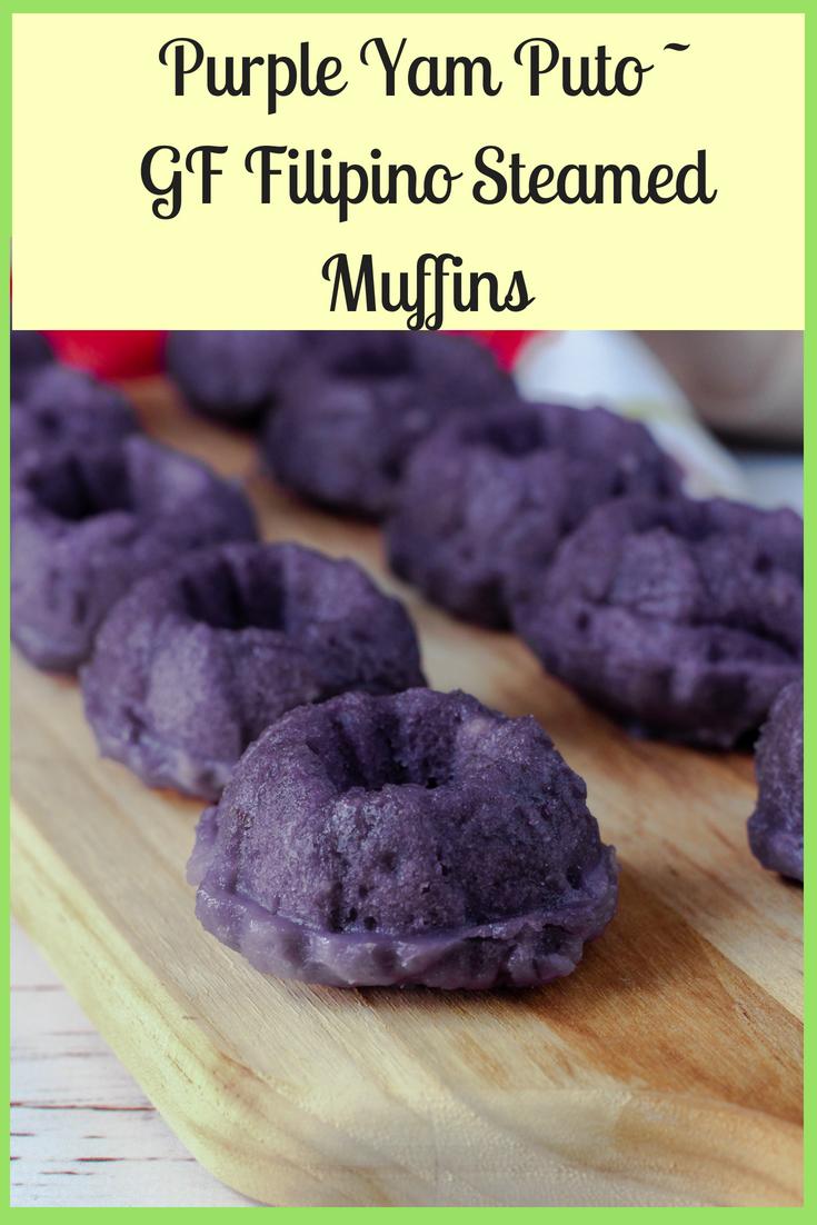 Putong Ube - Gluten Free Purple Yam Steamed Rice Cakes
