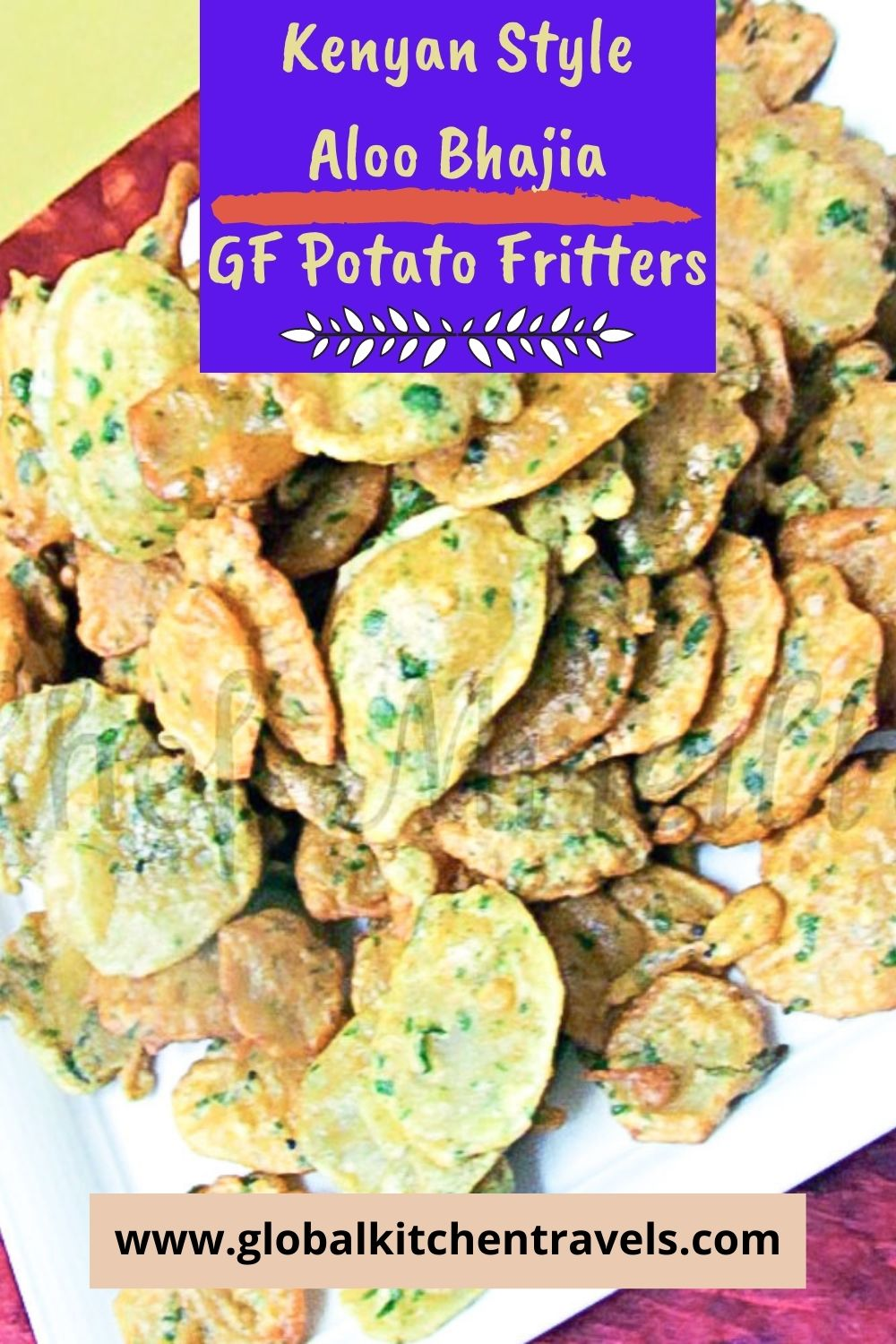 plate of gluten free potato fritters with text