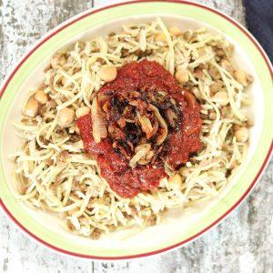 vegan Koshari plate with sauce