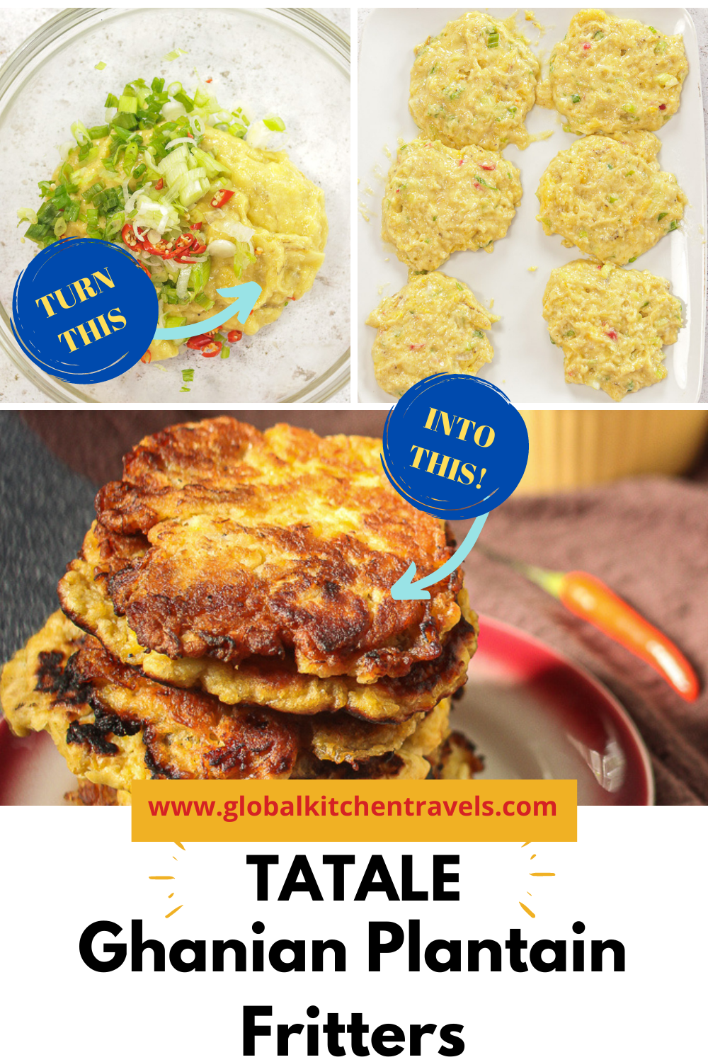 step by step images to make plantain pancakes with text