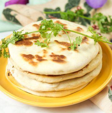 plate of Amritsari Aloo Kulcha - Indian Potato Flatbread