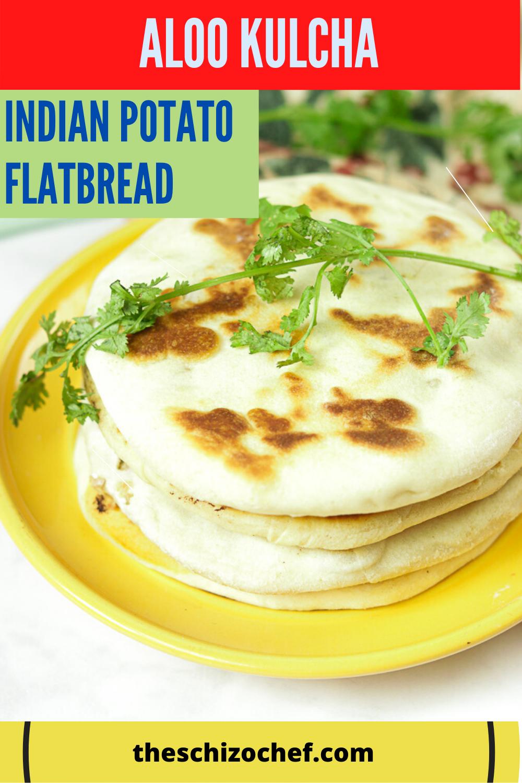 Amritsari Aloo Kulcha - Indian Potato Flatbread with text