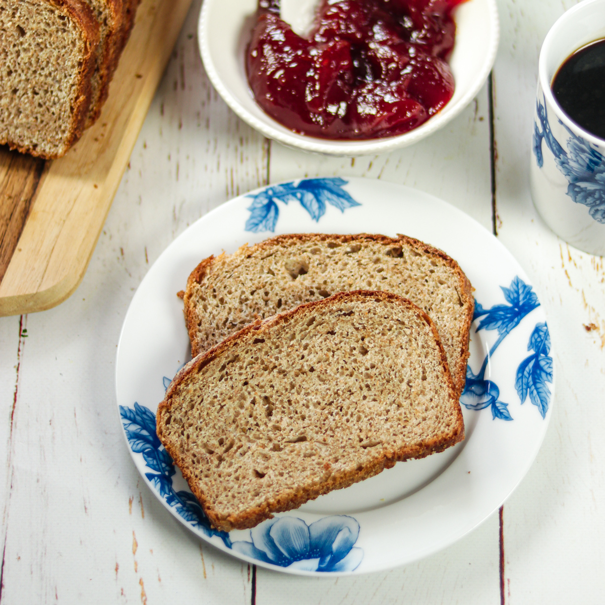 plate of No Knead Whole Wheat Bread with jam and coffee