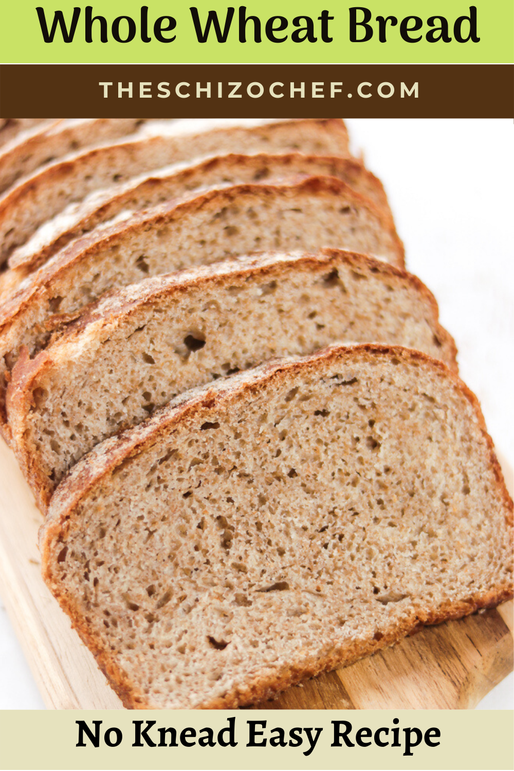 No Knead Whole Wheat Bread with text
