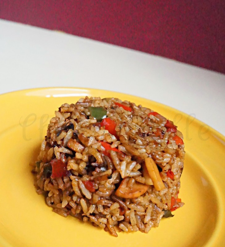 Indo-Chinese Fried Rice, Mushroom & Bell Pepper Fried Rice