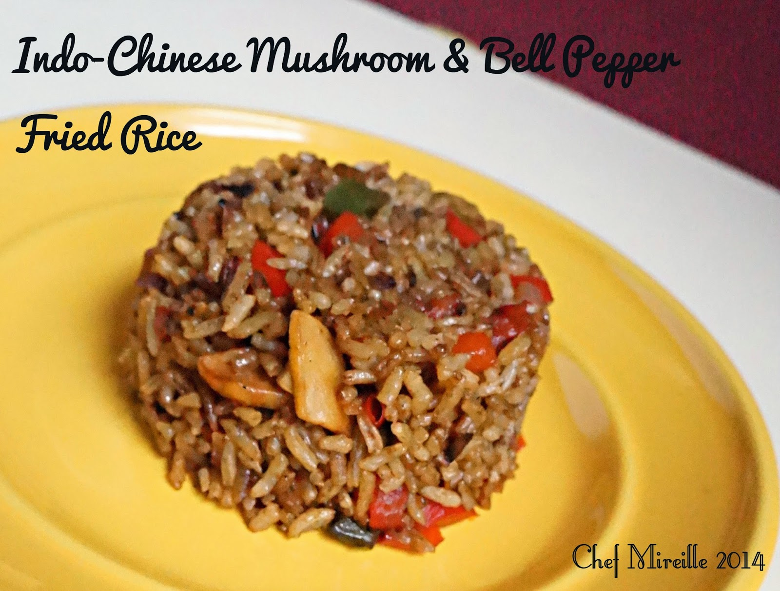 Indo-Chinese Mushroom & Bell Pepper Fried Rice