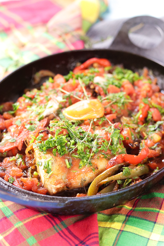 Caribbean Stew Fish in a pan