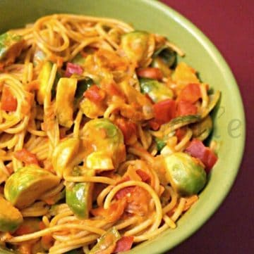 bowl of Spaghetti with brussel sprouts