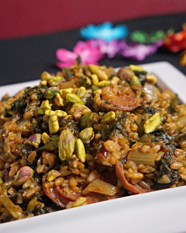 Freekeh Pilaf with Shallots, Chicory & Chicken Sausage