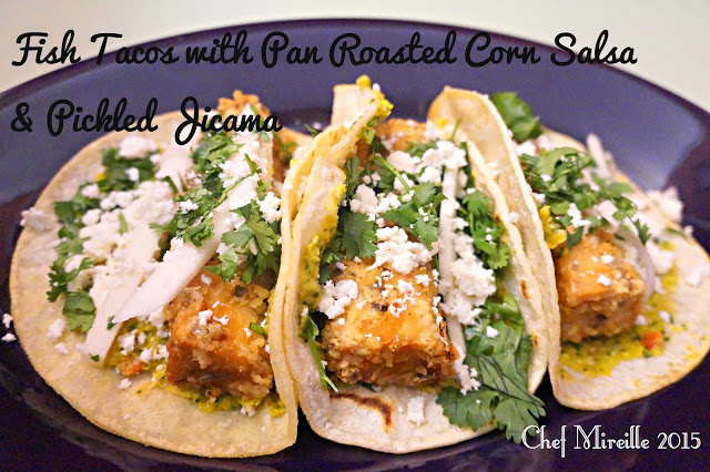 fish tacos with corn salsa and pickled jicama