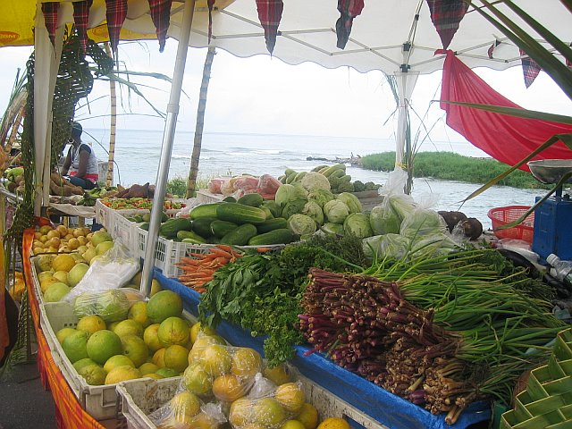 Fresh produce at the local market in Dominica.