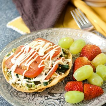 plate of Breakfast Tostada and Fruit