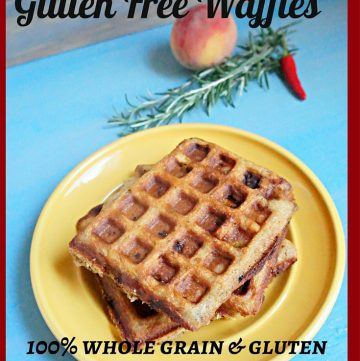 Peach Rosemary Waffles, Gluten Free, Whole Grain