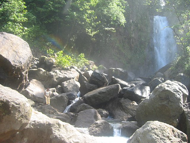 waterfalls and rainbow in Dominica
