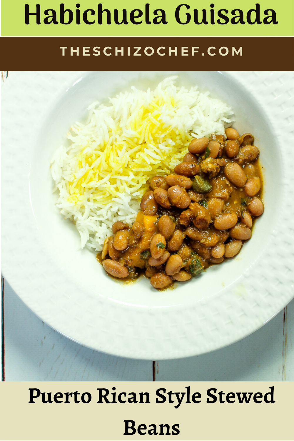 plate of rice and Habichuela Guisada - Puerto Rican Stewed Beans