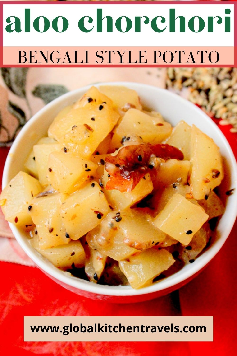 bowl of stir fried potatoes with text