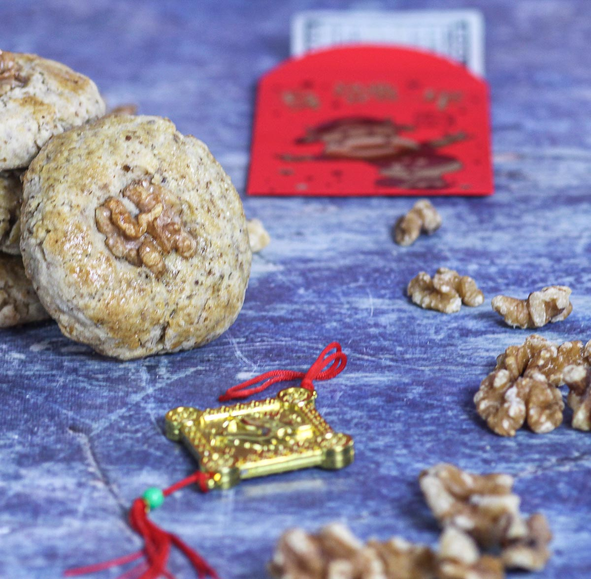 Chinese Walnut Cookies with Chinese New Year decorations