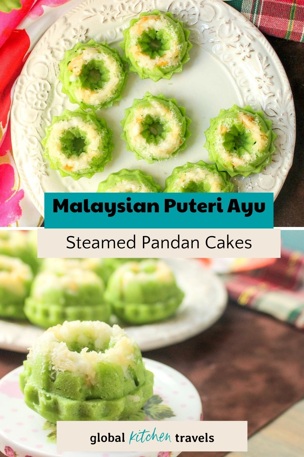 mini pandan sponge cakes topped with coconut with text