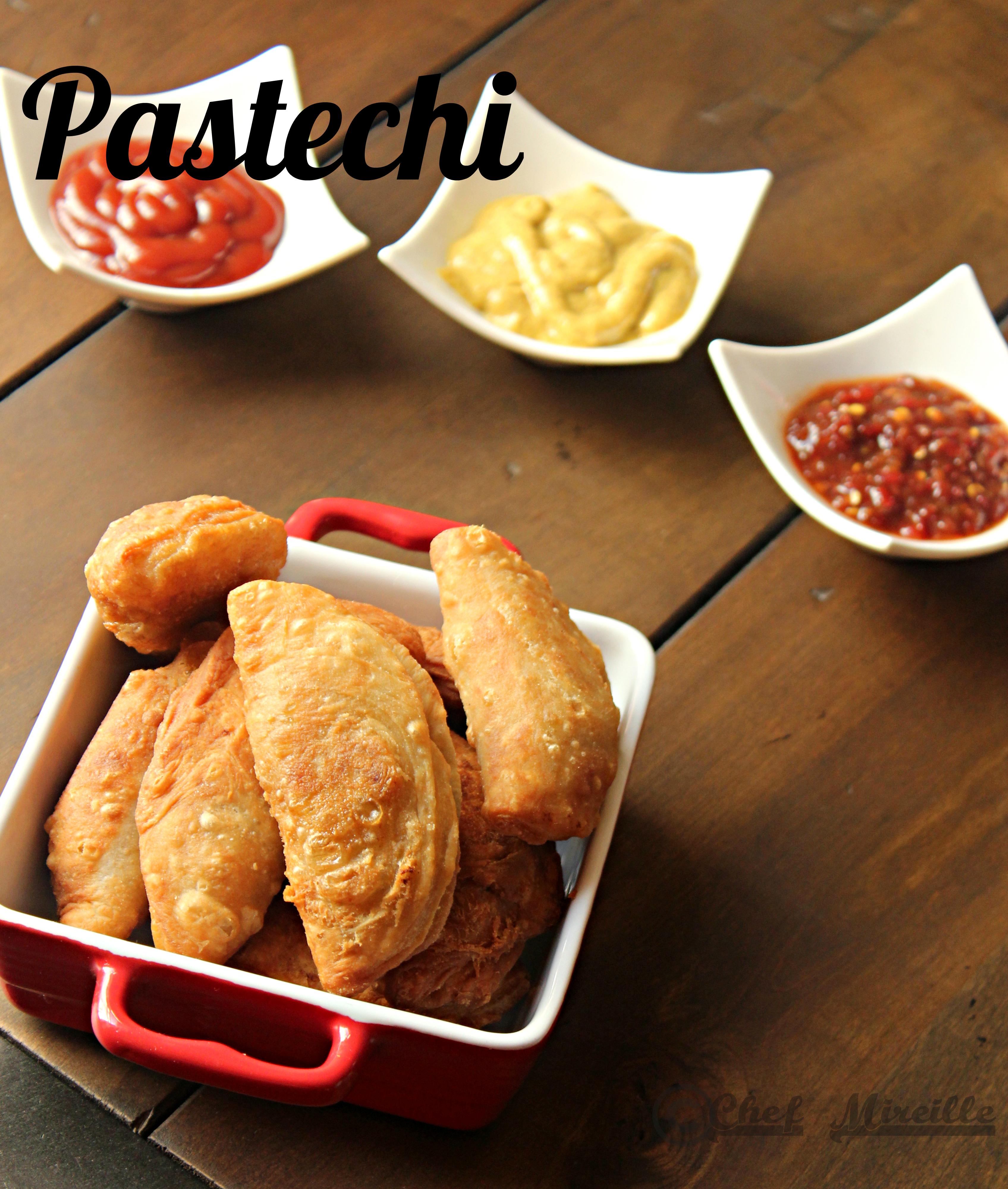Pastechi - Aruba style  Empanadas with condiments