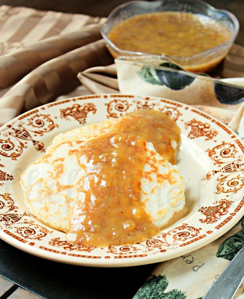 Peranakan Pancakes - Thai Rice Flour Coconut Pancakes on plate with Banana Sauce