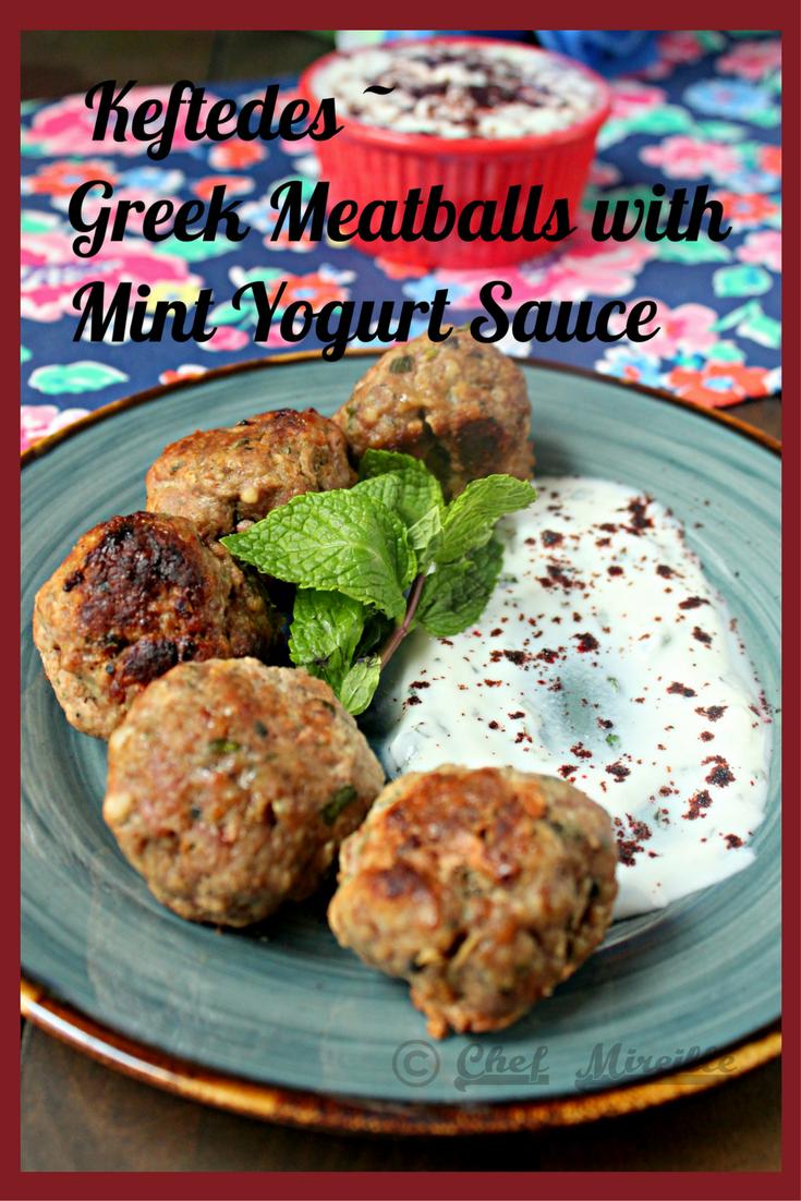 Keftedes - Greek Meatballs with Mint Yogurt Sauce