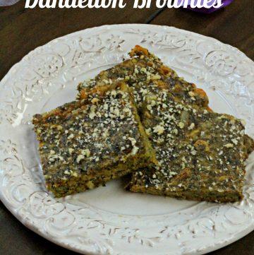 Cheesy Dandelion Einkorn Savory Brownies