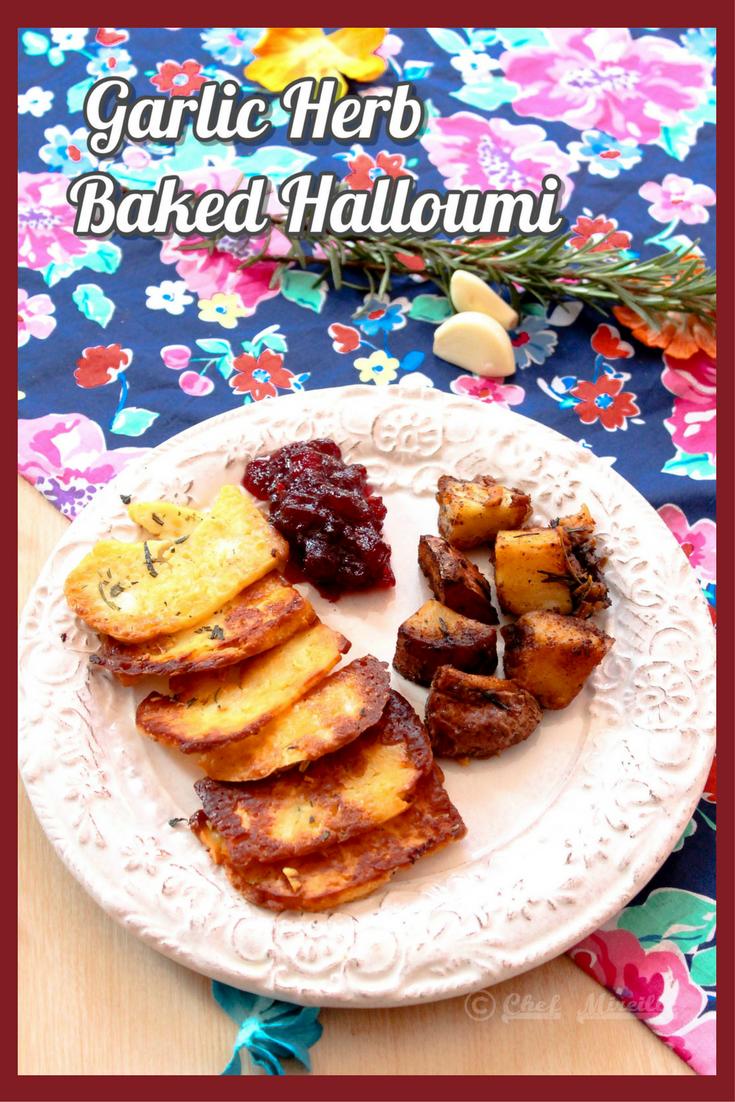 Garlic Herb Baked Halloumi