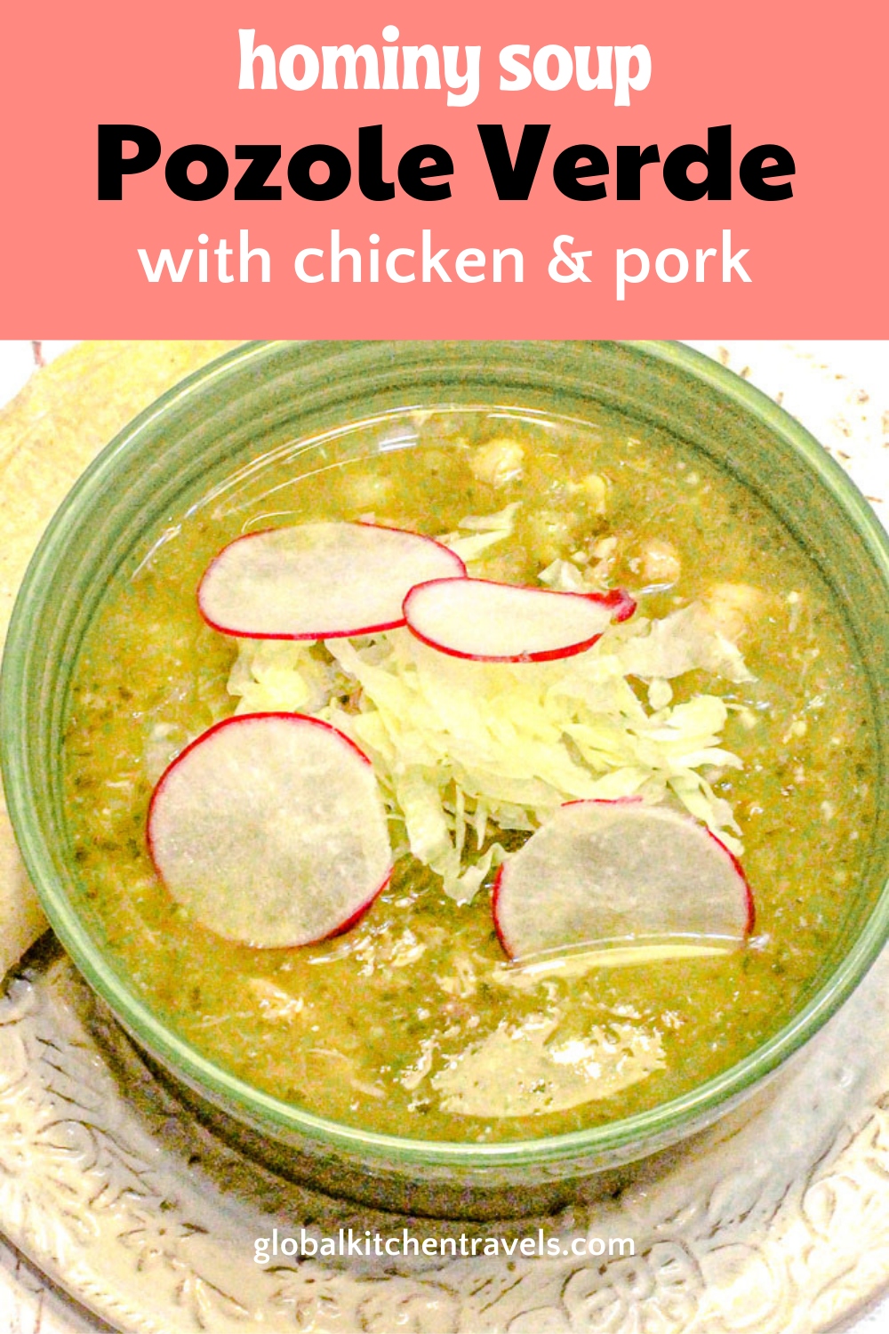 bowl of pozole with text