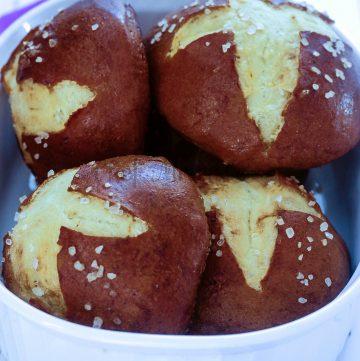 Saffron Pretzel Rolls for #BreadBakers