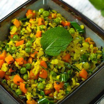 Methi Pudina Poha - Flattened Rice with Fenugreek and Mint
