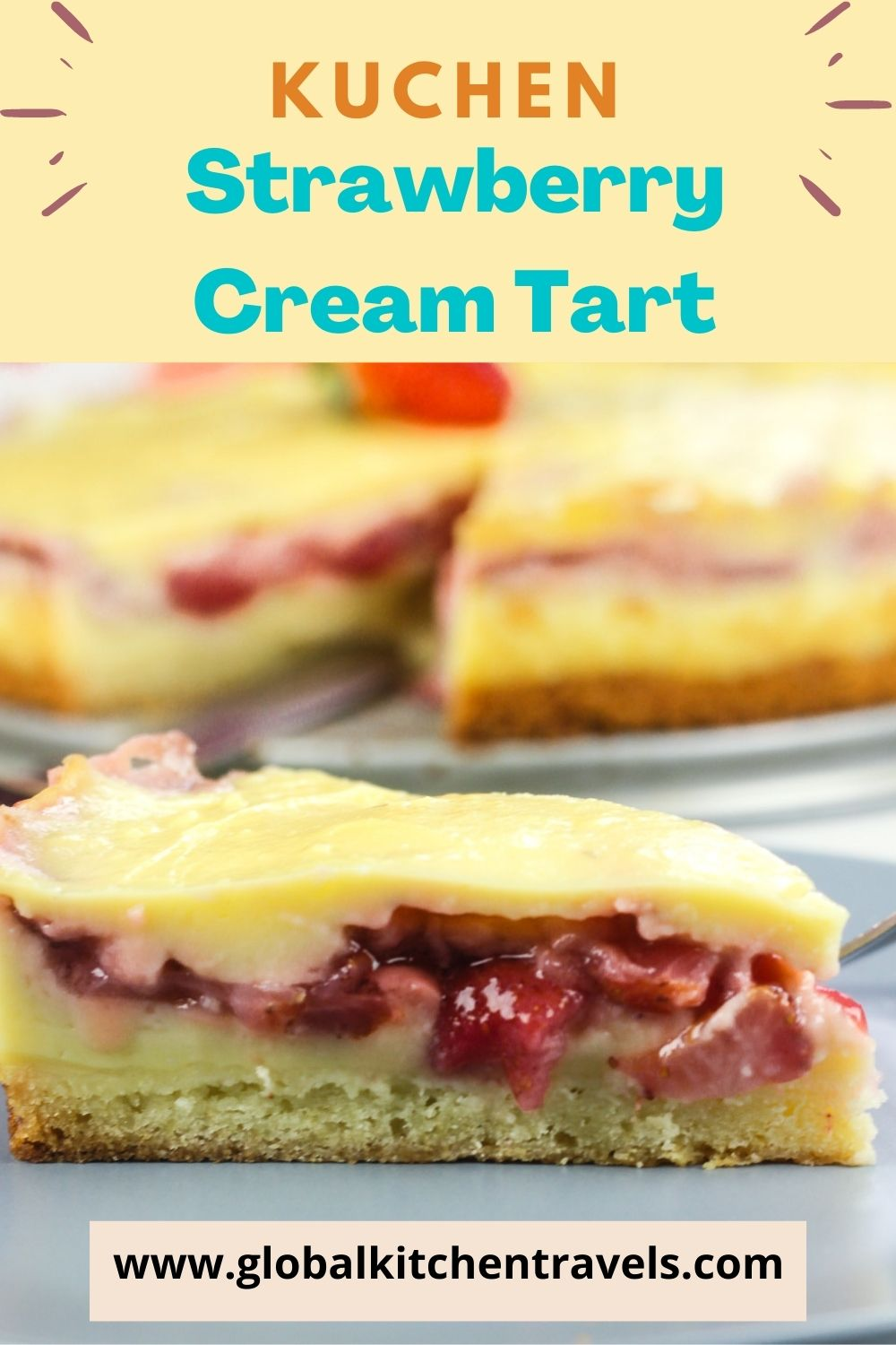 slice of Strawberry Cream Tart on a plate with text