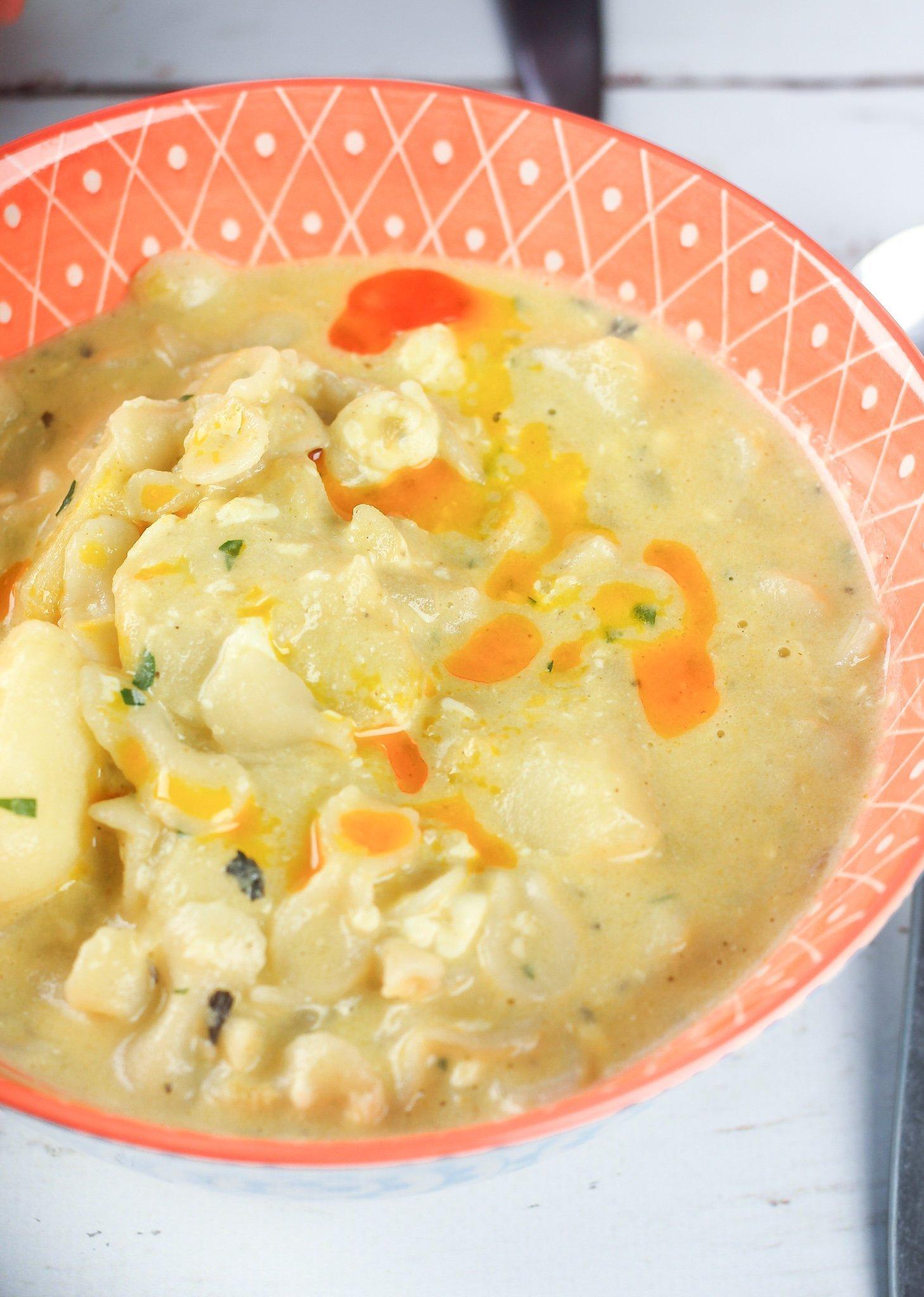 Ecuadorian Pasta Cheese Soup with Potatoes