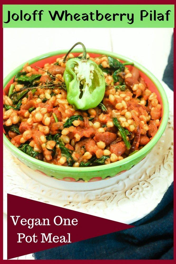 Joloff Wheatberry Pilaf - vegan onepotmeal