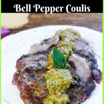 Coriander Crusted Brined Roasted Lamb & Bell Pepper Coulis