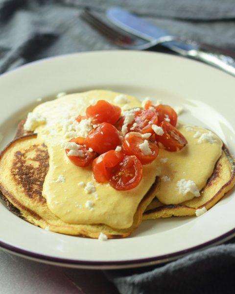 Pancakes Huancaina - Spicy Cheese Savory Pancakes