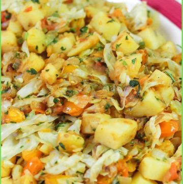 Spicy Cabbage and Potatoes recipe on a plate