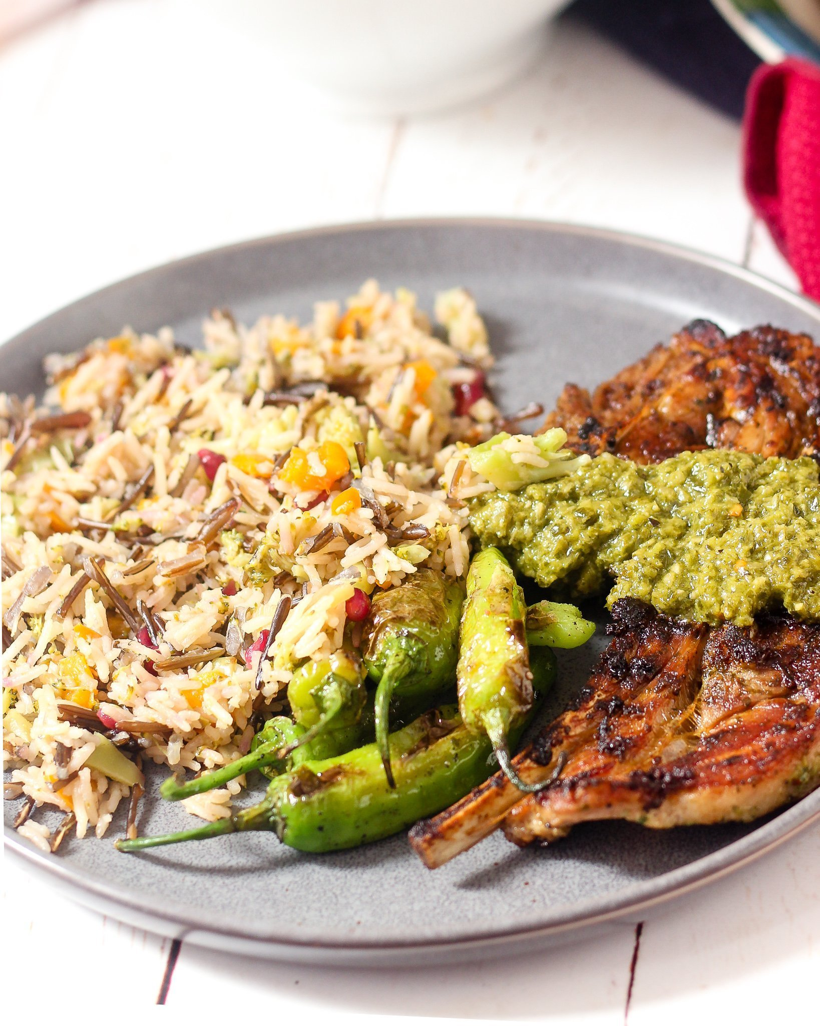 Chimichurri Lamb Dinner with Wild Rice Pilaf and Shishito Peppers