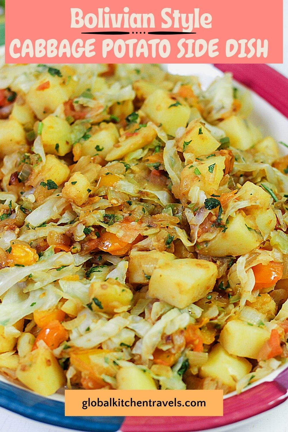 cabbage potato side dish on a platte with text