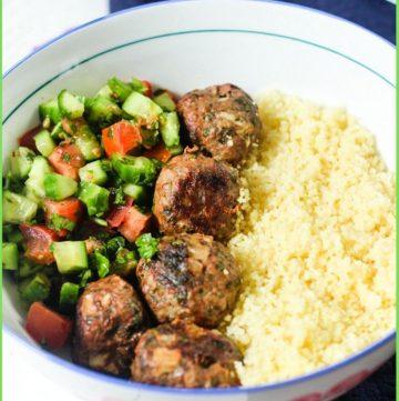 Lamb Kofta Bowl recipe with couscous and salad
