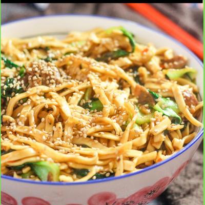 Lamb Bok Choy Noodle Stir Fry