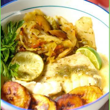 Caribbean Fish Bowl recipe with fish, cabbage, plantain, funchi