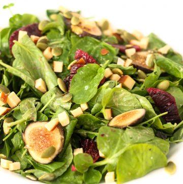 Fig & Watercress Salad with Blood Orange Yogurt Dressing